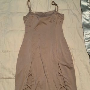 Lf pink satin bodycon dress with cutouts